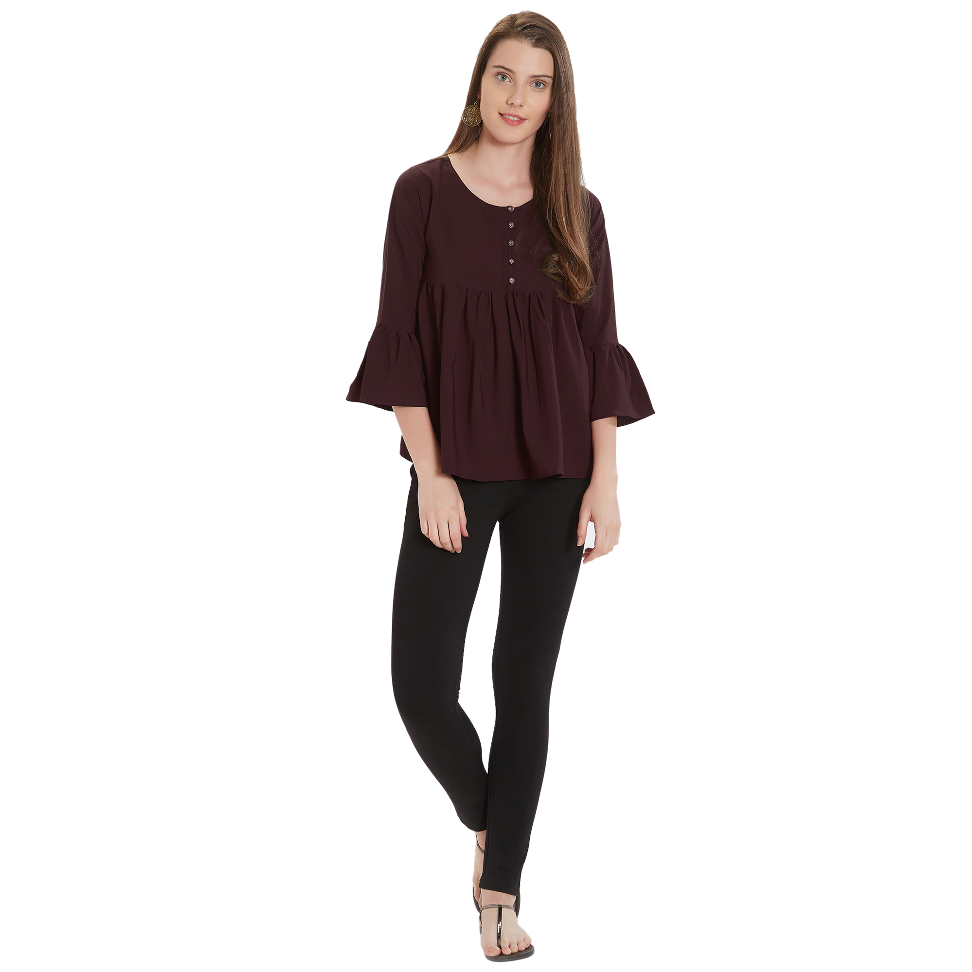 Adorable Brown Colored Casual Wear Crepe Top
