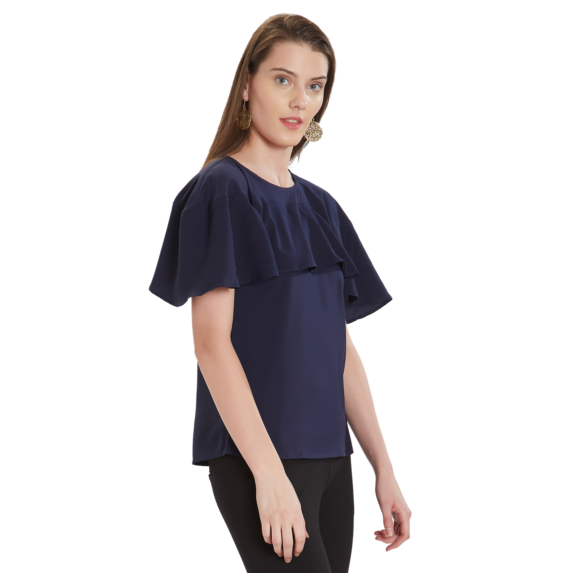Attractive Navy Blue Colored Casual Wear Crepe Top