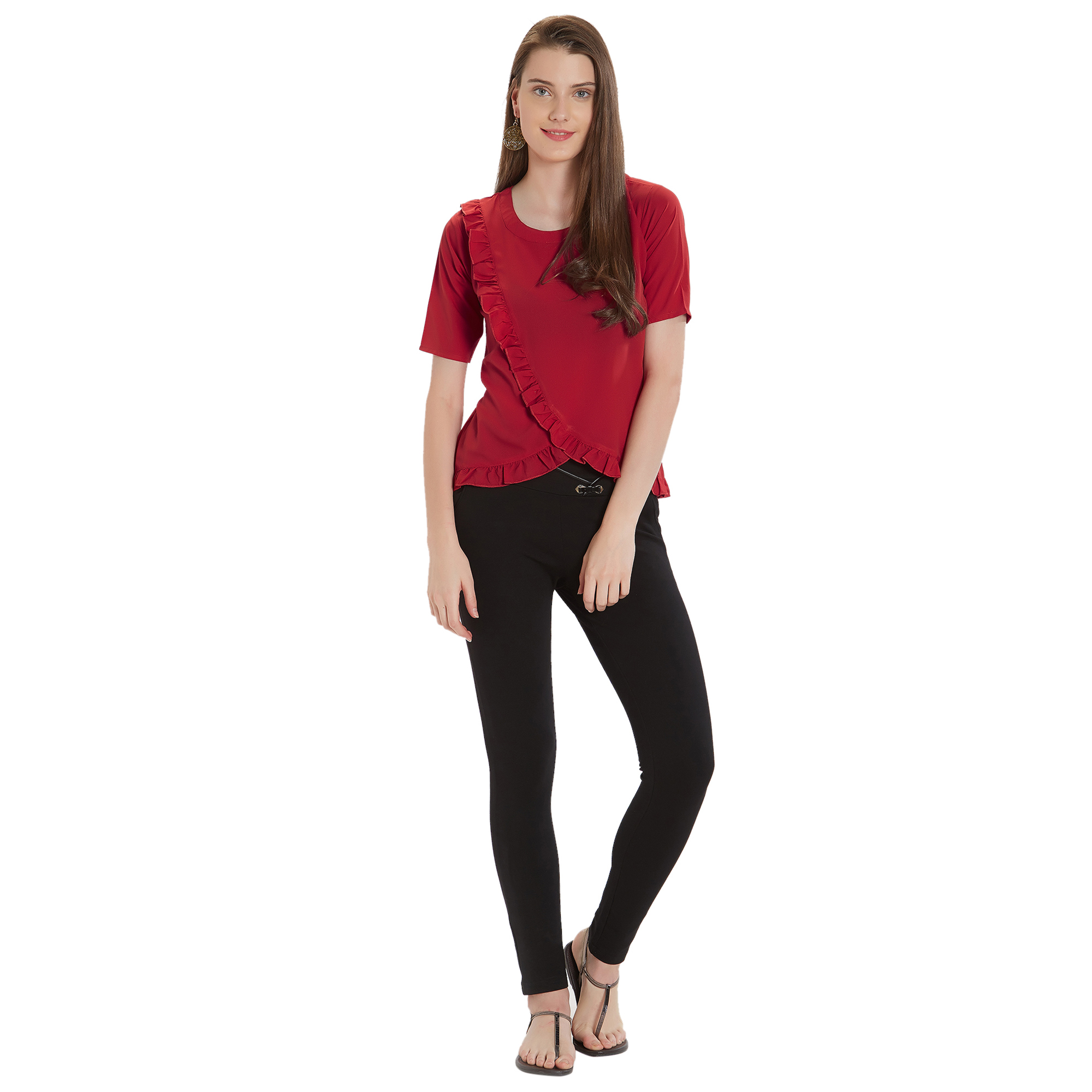 Gorgeous Red Colored Casual Wear Crepe Top
