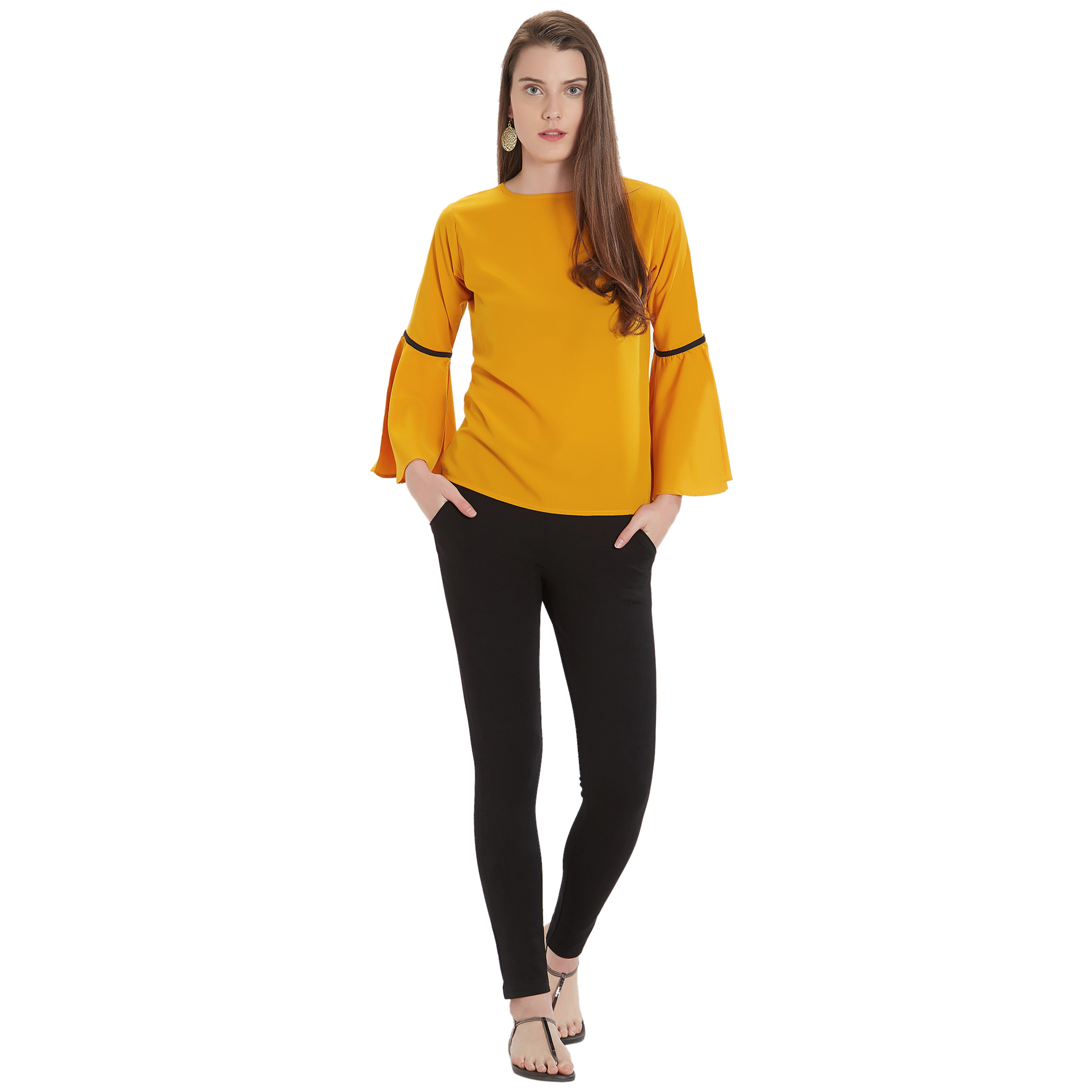 Beautiful Yellow Colored Casual Wear Crepe Top