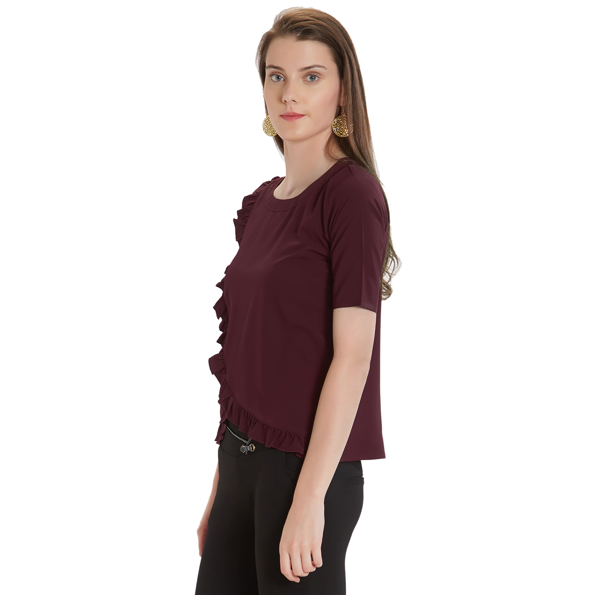 Stylish Brown Colored Casual Wear Crepe Top