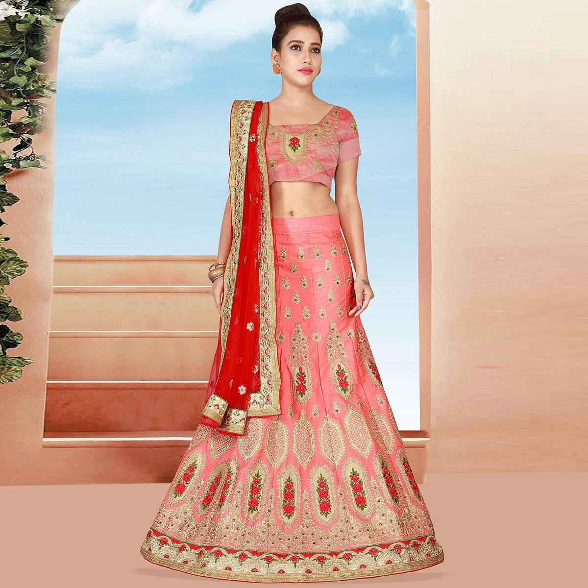 Precious Pink Colored Designer Heavy Embroidered Art Silk Lehenga