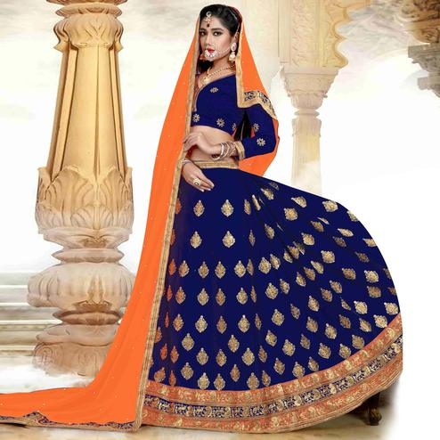 Hypnotic Blue Colored Designer Heavy Embroidered Art Silk Lehenga