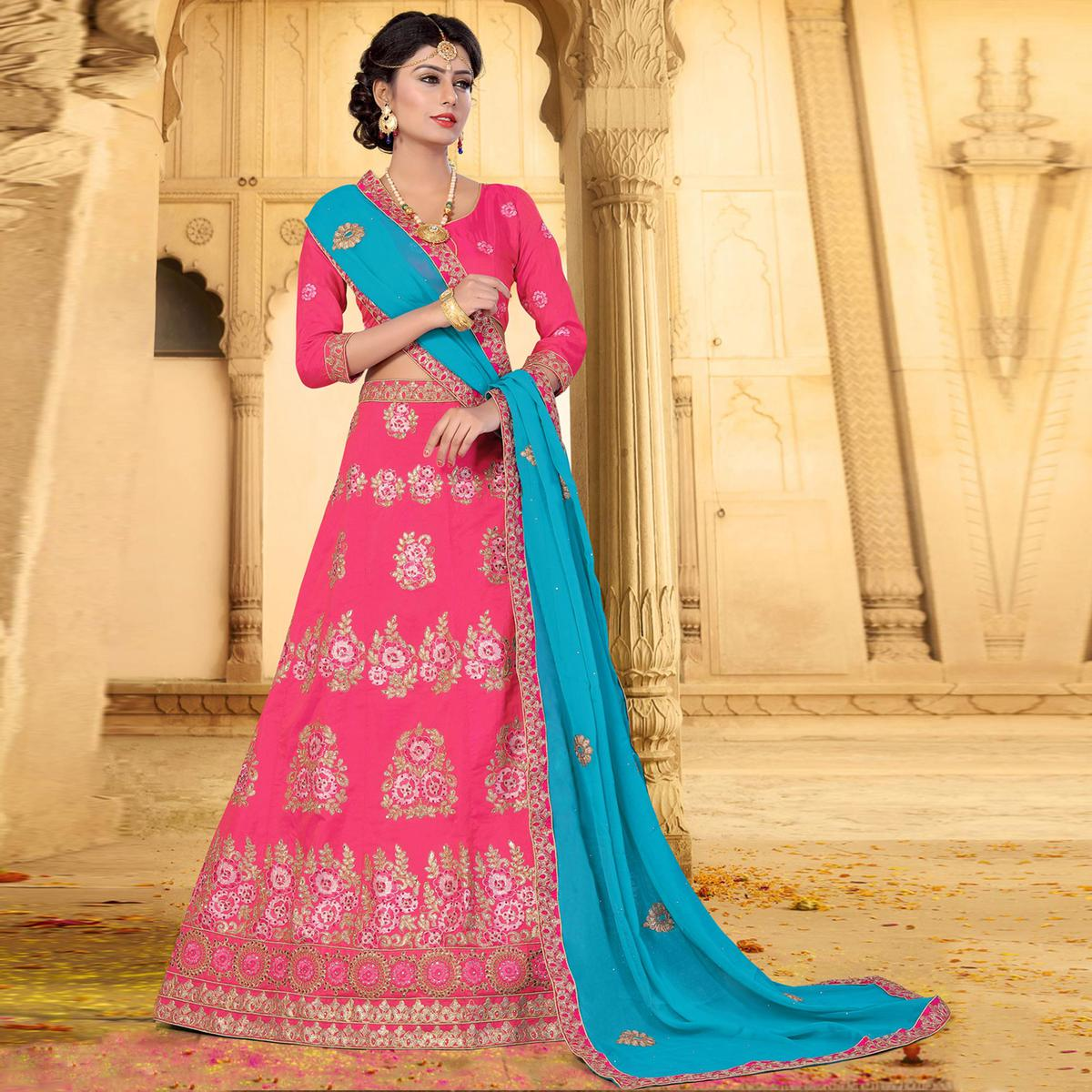 Lovely Pink Colored Designer Embroidered Art Silk Lehenga
