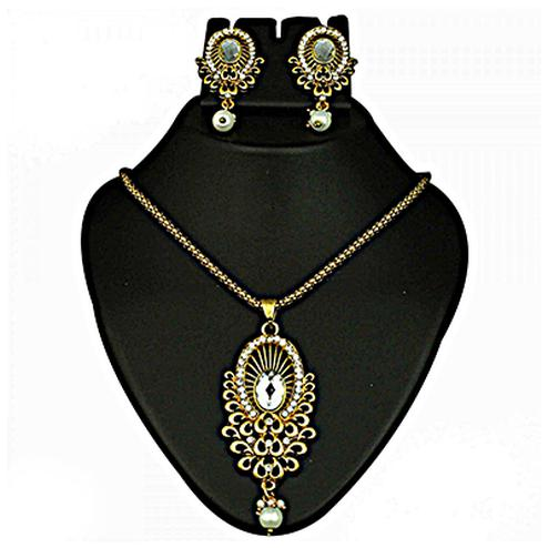 Austrian Stone Pearl Drop Gold Finish Pendant Set