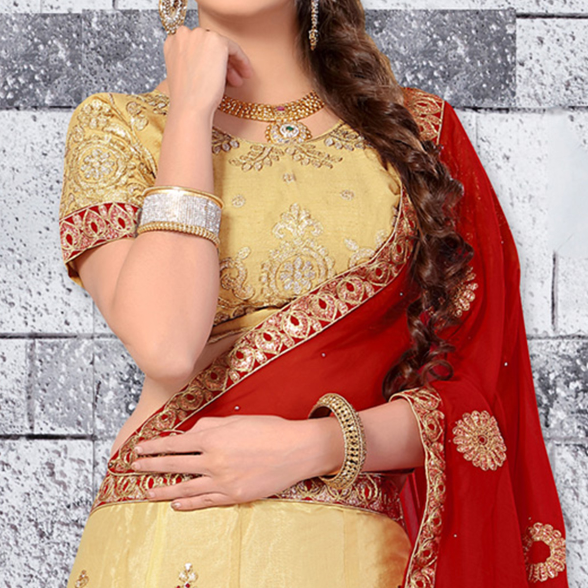 Appealing Cream Colored Designer Embroidered Net Lehenga Choli