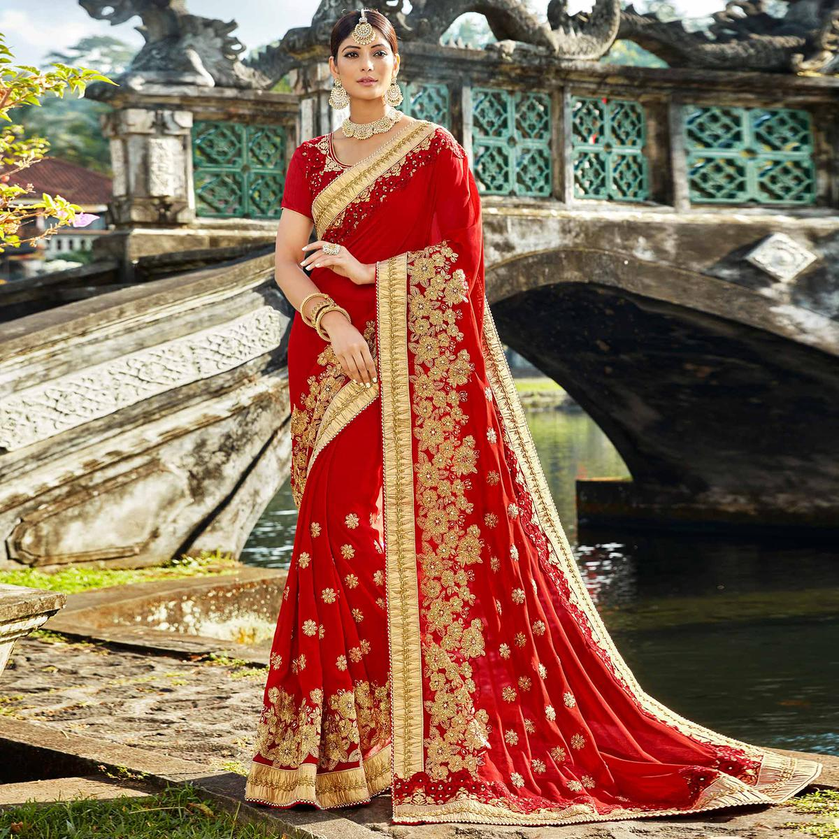 Alluring Red Colored Designer Embroidered Party Wear Georgette Saree