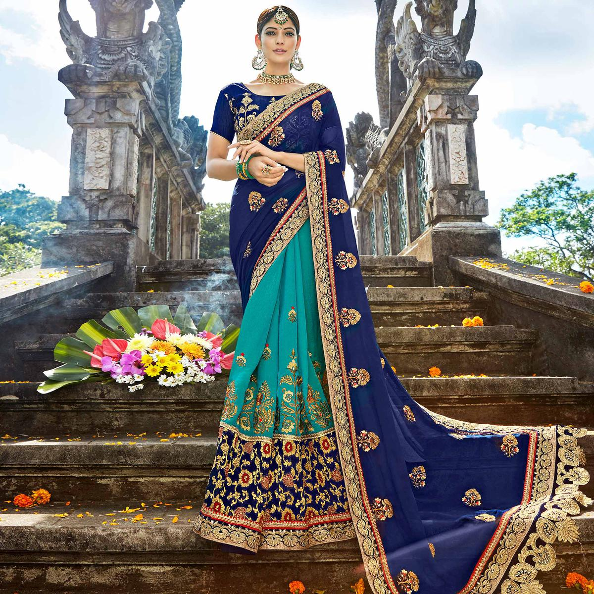 Elegant Blue & Turquoise Blue Colored Designer Embroidered Party Wear Georgette-Art Silk Saree