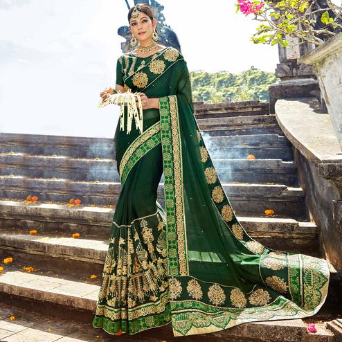 Desirable Dark Green Colored Designer Embroidered Party Wear Chiffon Silk Saree