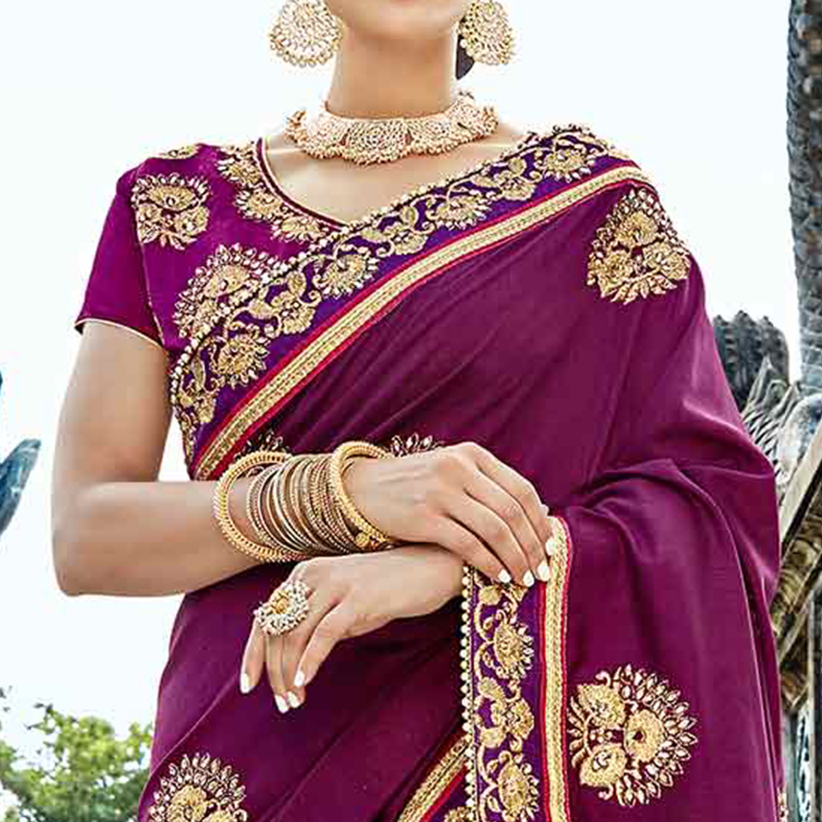 Marvellous Purple Colored Designer Embroidered Party Wear Art Silk Saree