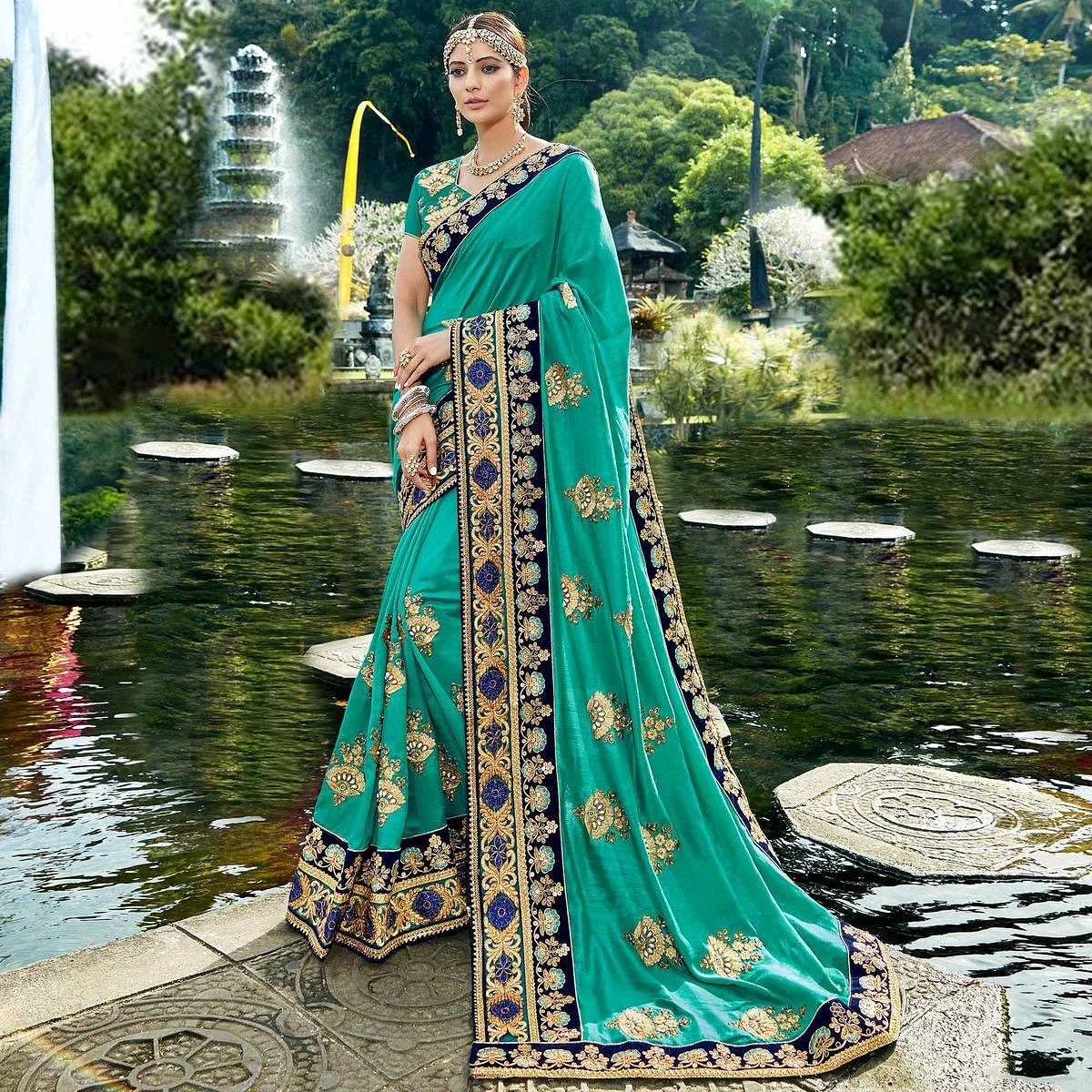 Attractive Turquoise Blue Colored Designer Embroidered Party Wear Art Silk Saree