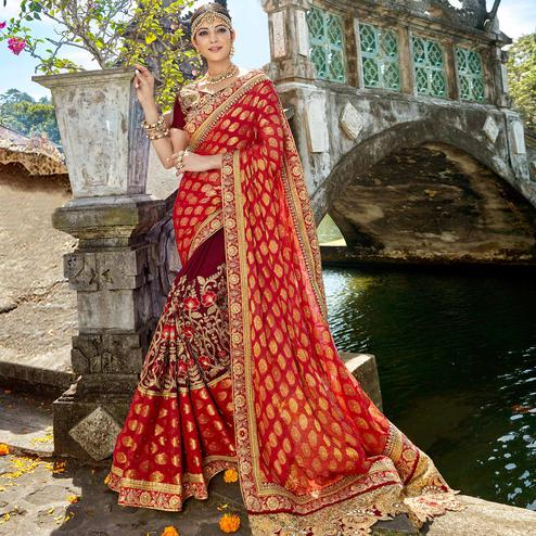 Amazing Red & Maroon Colored Designer Embroidered Party Wear Georgette-Art Silk Saree