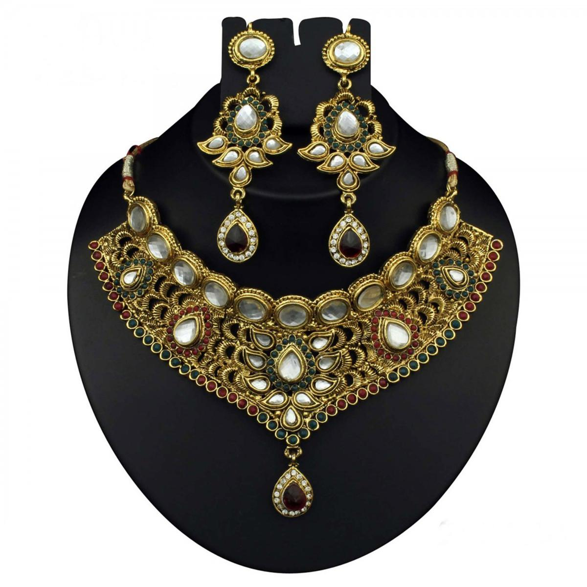 Kundan Austrian Stone Red & Green Pota Pearl Gold Finish Necklace Sets