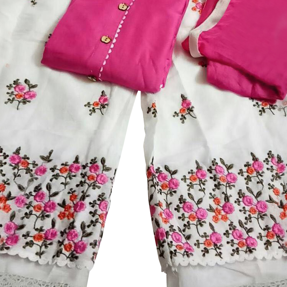 Magnetic Pink Colored Partywear Embroidered Rayon Palazzo Suit