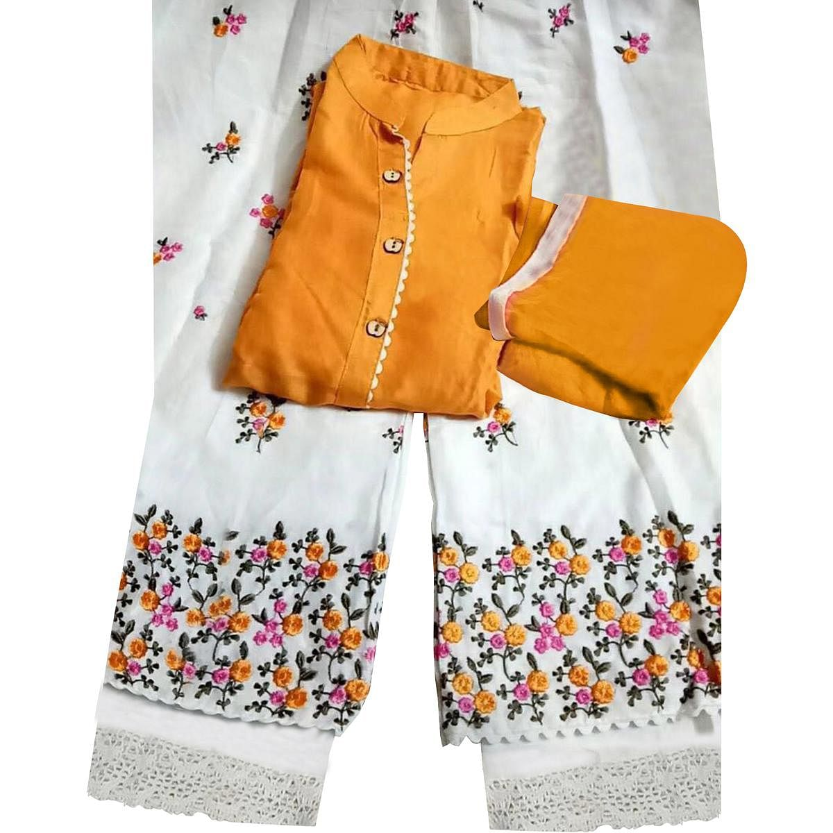Appealing Yellow Colored Partywear Embroidered Rayon Palazzo Suit