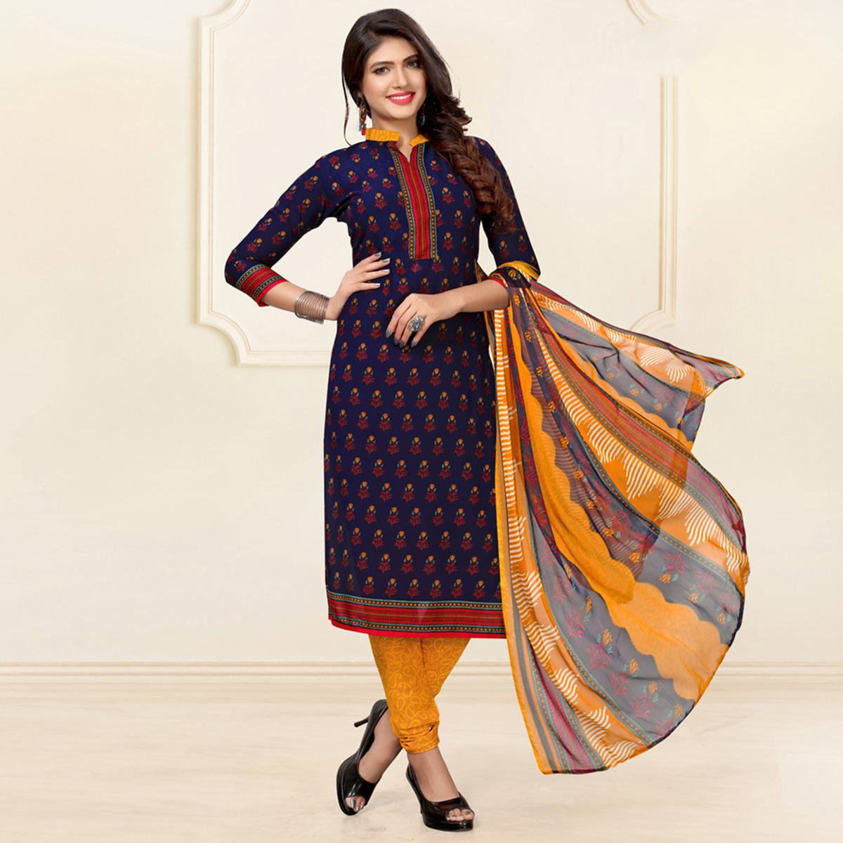 Stylish Navy Blue Colored Casual Digital Printed Crepe Dress Material