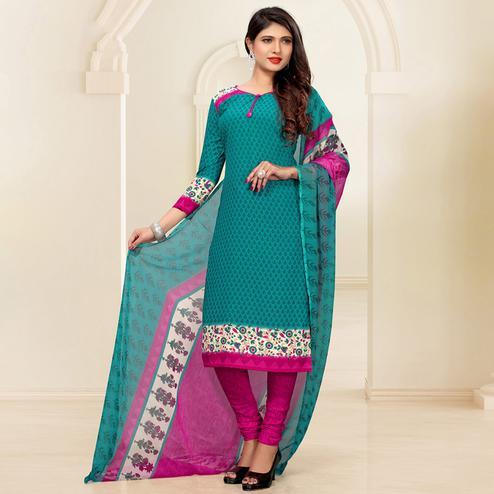 Groovy Turquoise Green Colored Casual Digital Printed Crepe Dress Material