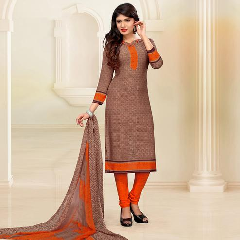 Classy Brown Colored Casual Digital Printed Crepe Dress Material