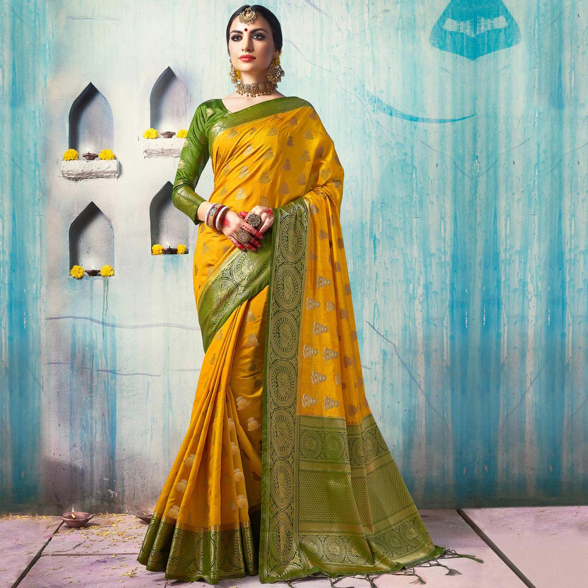 Appealing Yellow Colored Festive Wear Woven Cotton Silk Saree