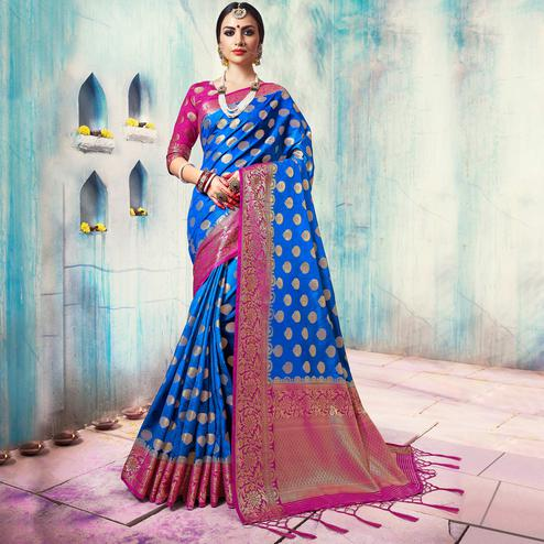 Gleaming Blue Colored Festive Wear Woven Cotton Silk Saree