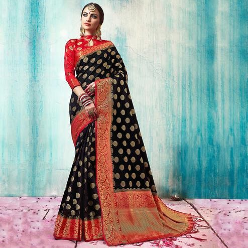 Arresting Black Colored Festive Wear Woven Cotton Silk Saree