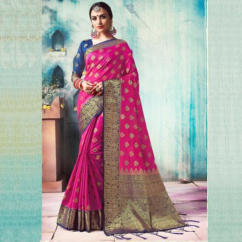 Perfect Pink Colored Festive Wear Woven Cotton Silk Saree