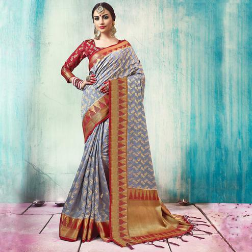Trendy Grey Colored Festive Wear Woven Cotton Silk Saree