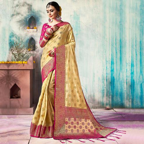 Majestic Cream Colored Festive Wear Woven Cotton Silk Saree