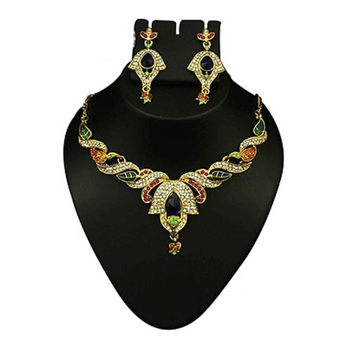 Multicolor Austrian Stone Meenakari Gold Finish Necklace Set