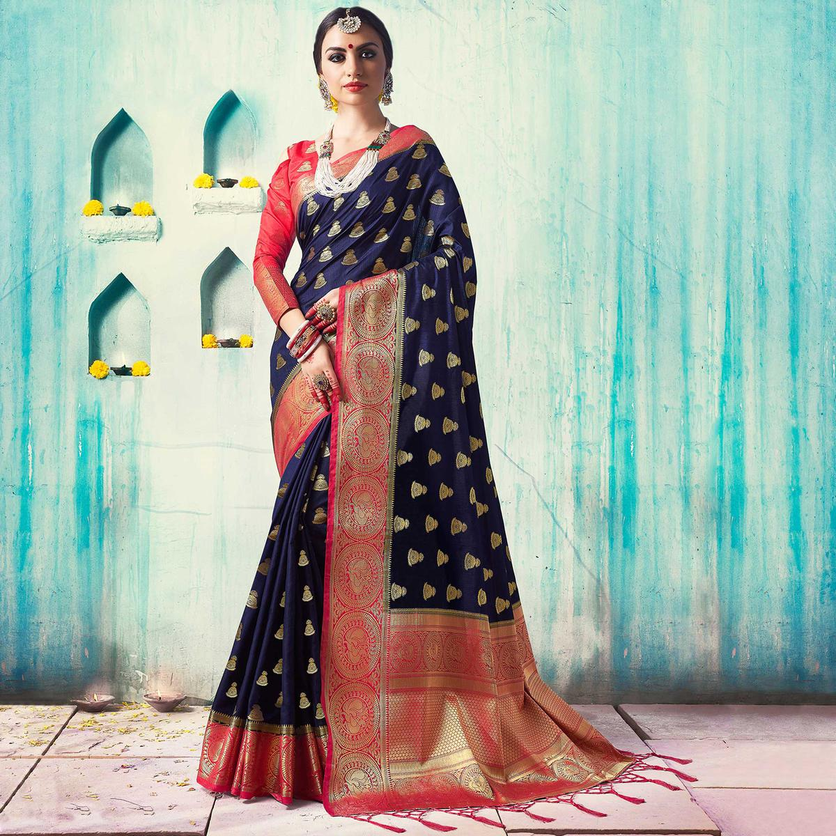 Attractive Navy Blue Colored Festive Wear Woven Cotton Silk Saree