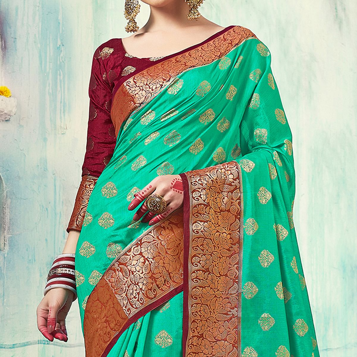 Different Turquoise Green Colored Festive Wear Woven Cotton Silk Saree