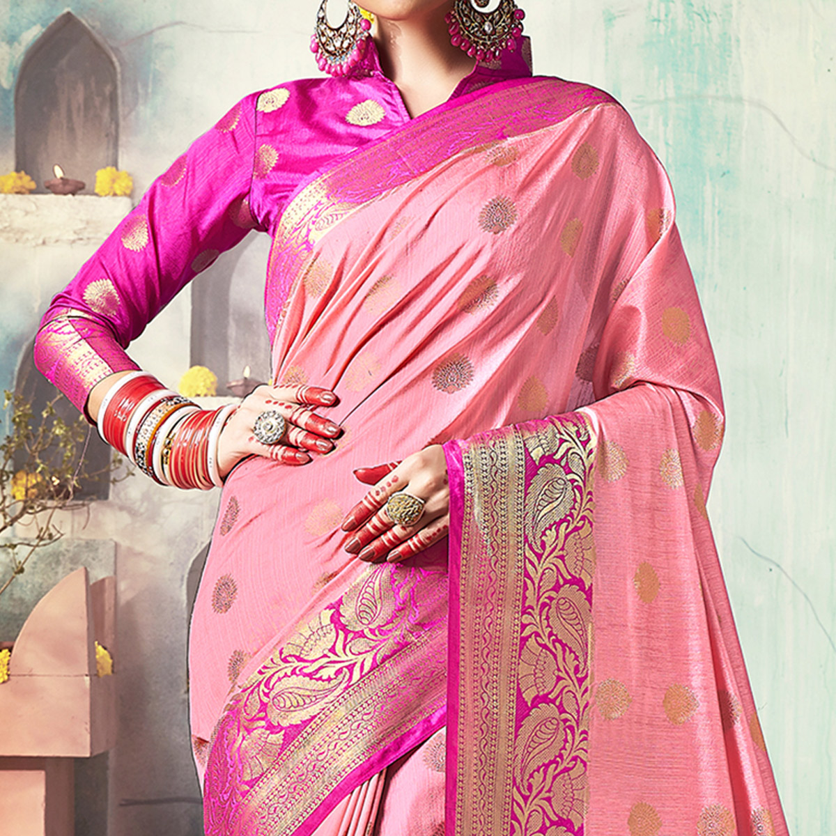 Hypnotic Light Pink Colored Festive Wear Woven Cotton Silk Saree