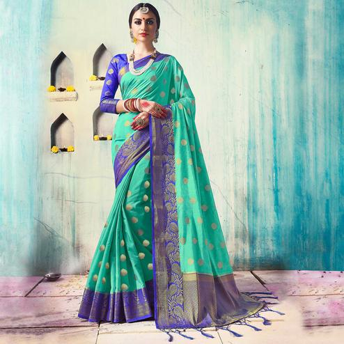 Irresistible Aqua Green Colored Festive Wear Woven Cotton Silk Saree