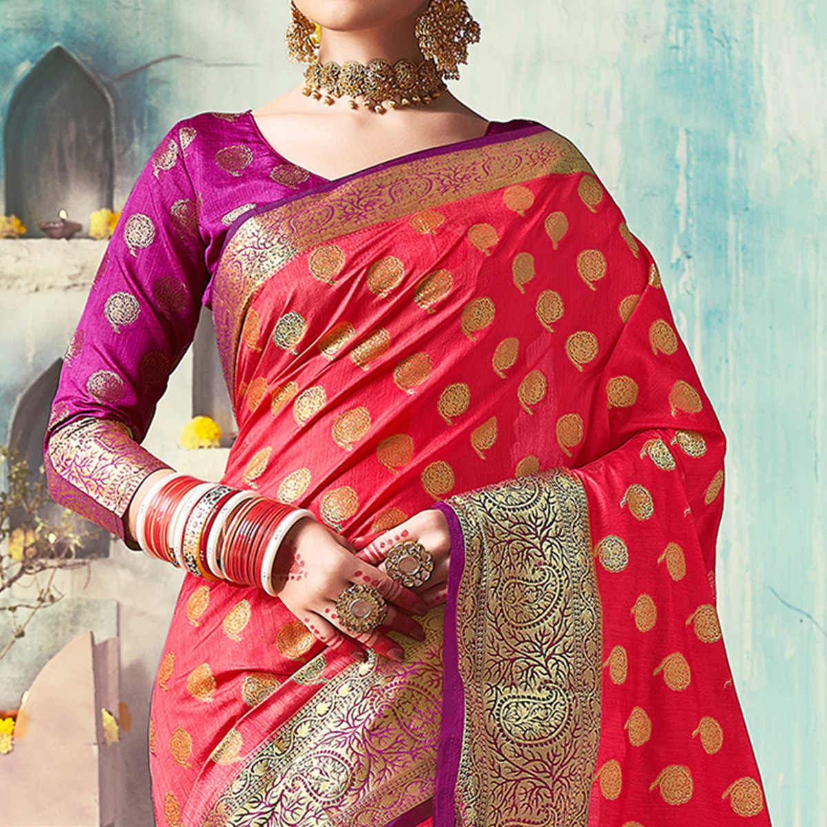 Traditional Red Colored Festive Wear Woven Cotton Silk Saree