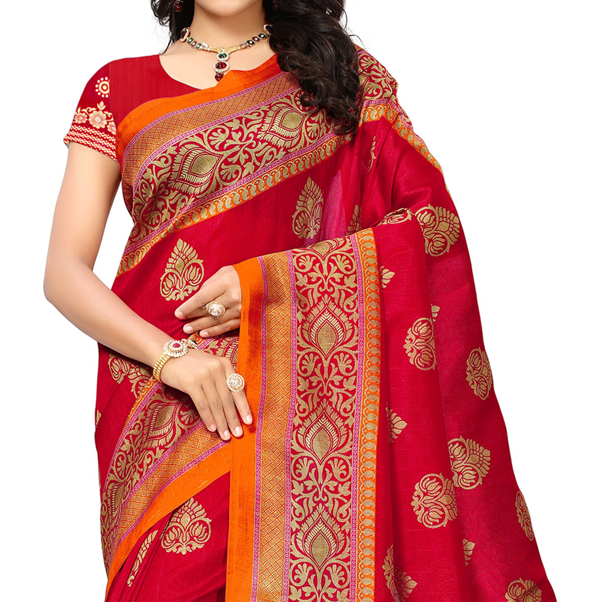 Glowing Red Colored Festive Wear Woven Bhagalpuri Silk Saree