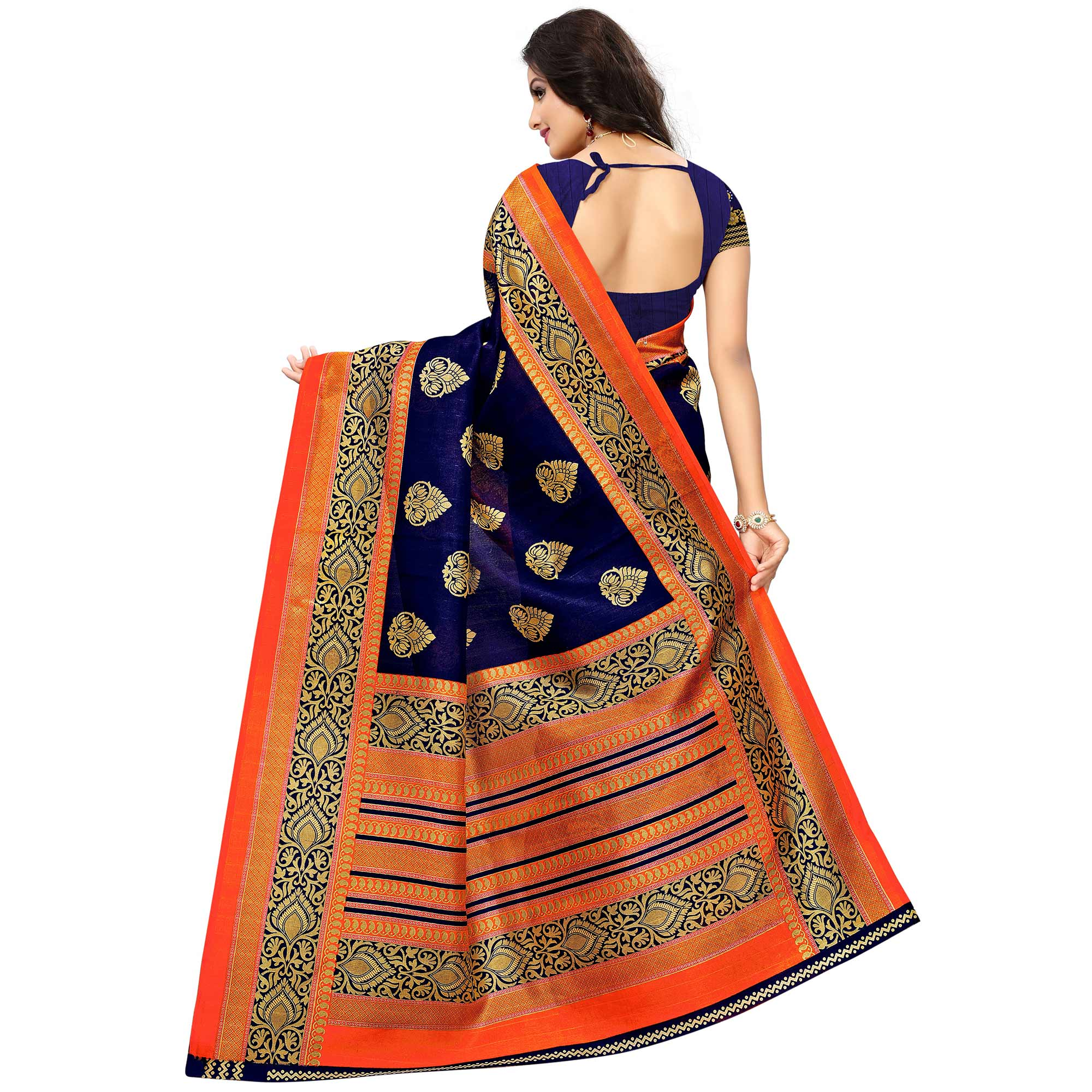 Demanding Navy Blue Colored Festive Wear Woven Bhagalpuri Silk Saree