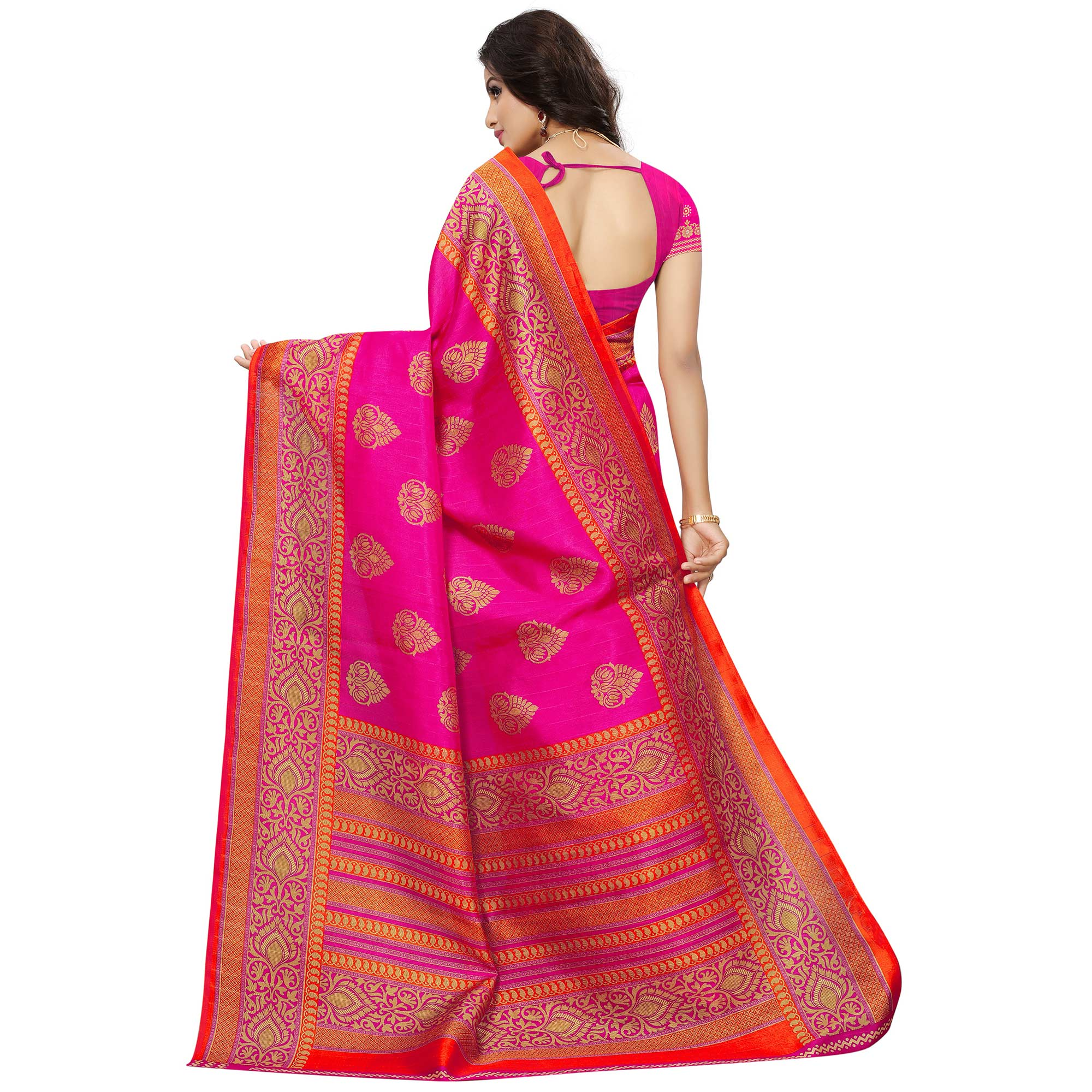 Charming Pink Colored Festive Wear Woven Bhagalpuri Silk Saree