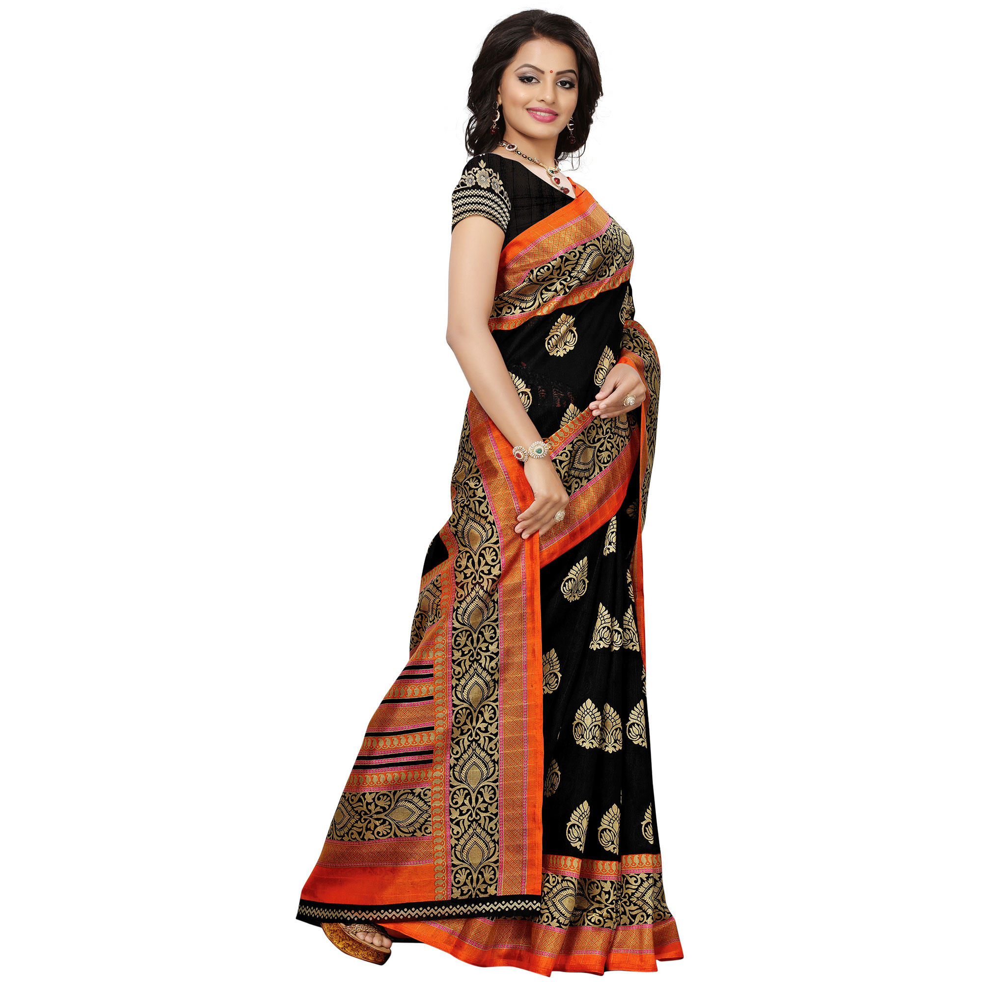 Flaunt Black Colored Festive Wear Woven Bhagalpuri Silk Saree