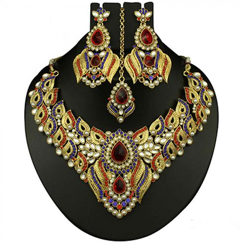 Kundan Red & Blue Austrian Stone Pearl Gold Finish Necklace Set With Maang Tikka