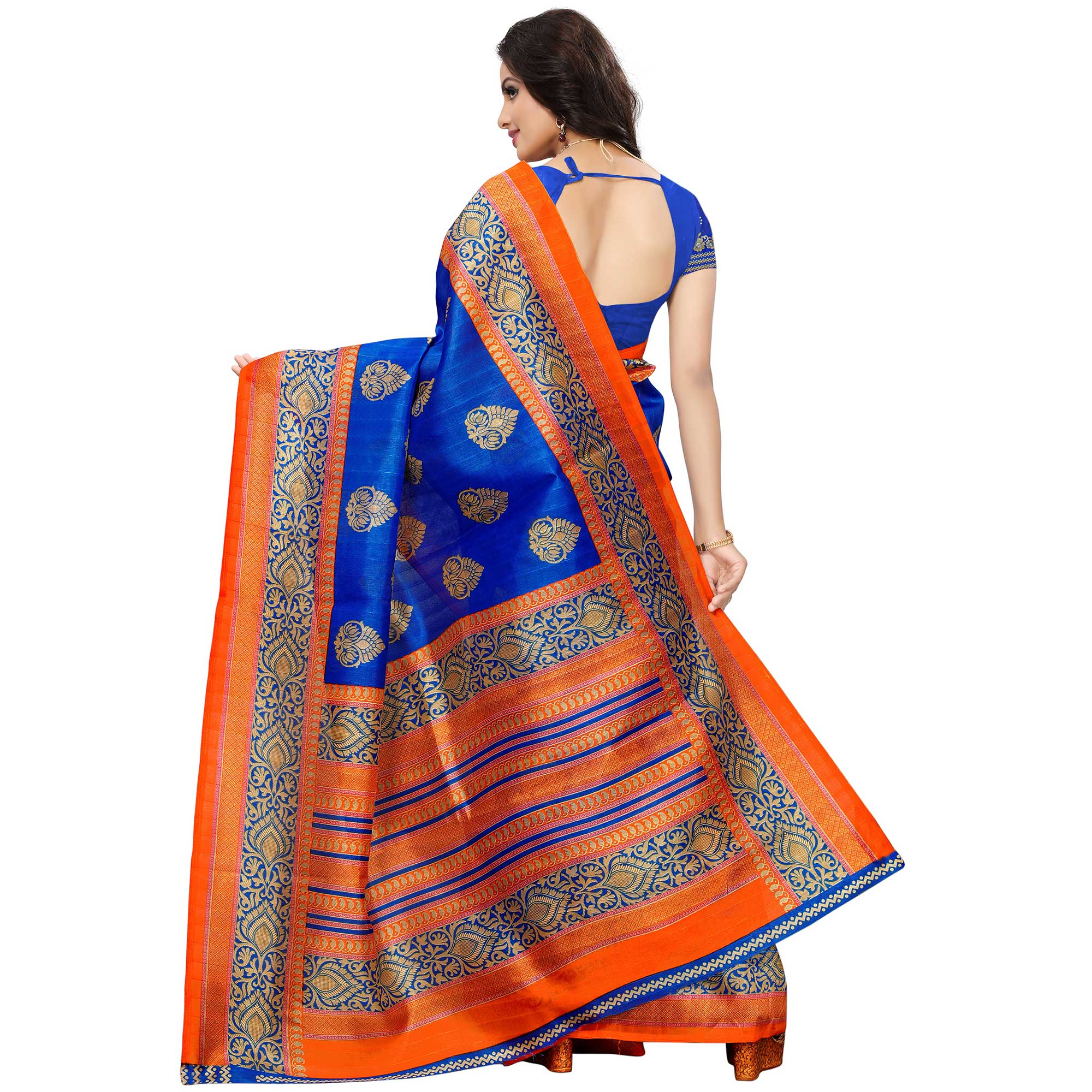 Adorning Blue Colored Festive Wear Woven Bhagalpuri Silk Saree