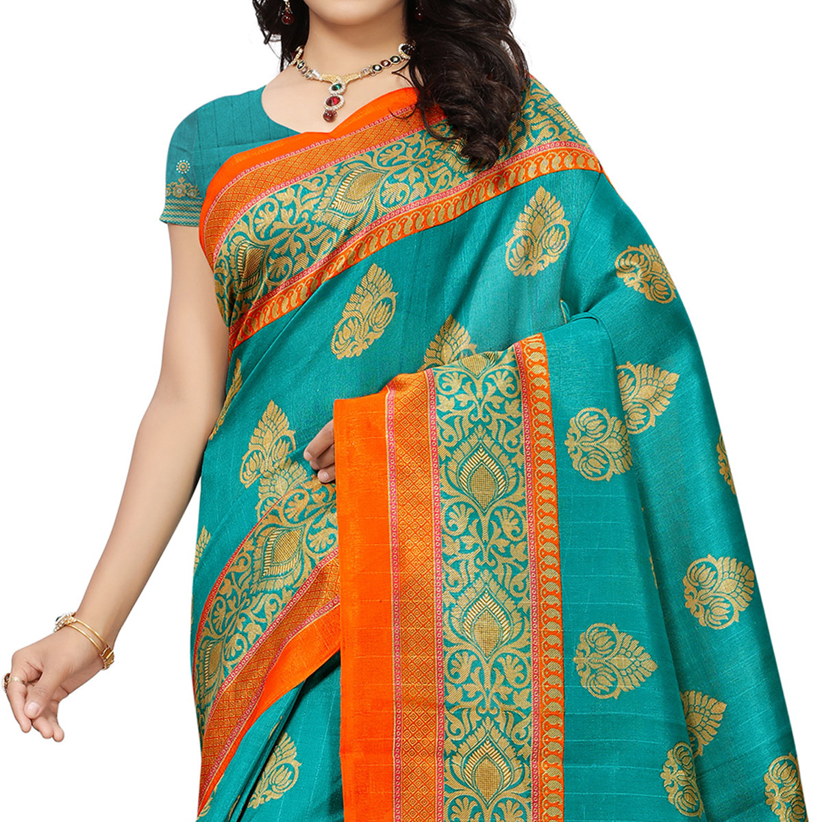 Refreshing Sky Blue Colored Festive Wear Woven Bhagalpuri Silk Saree
