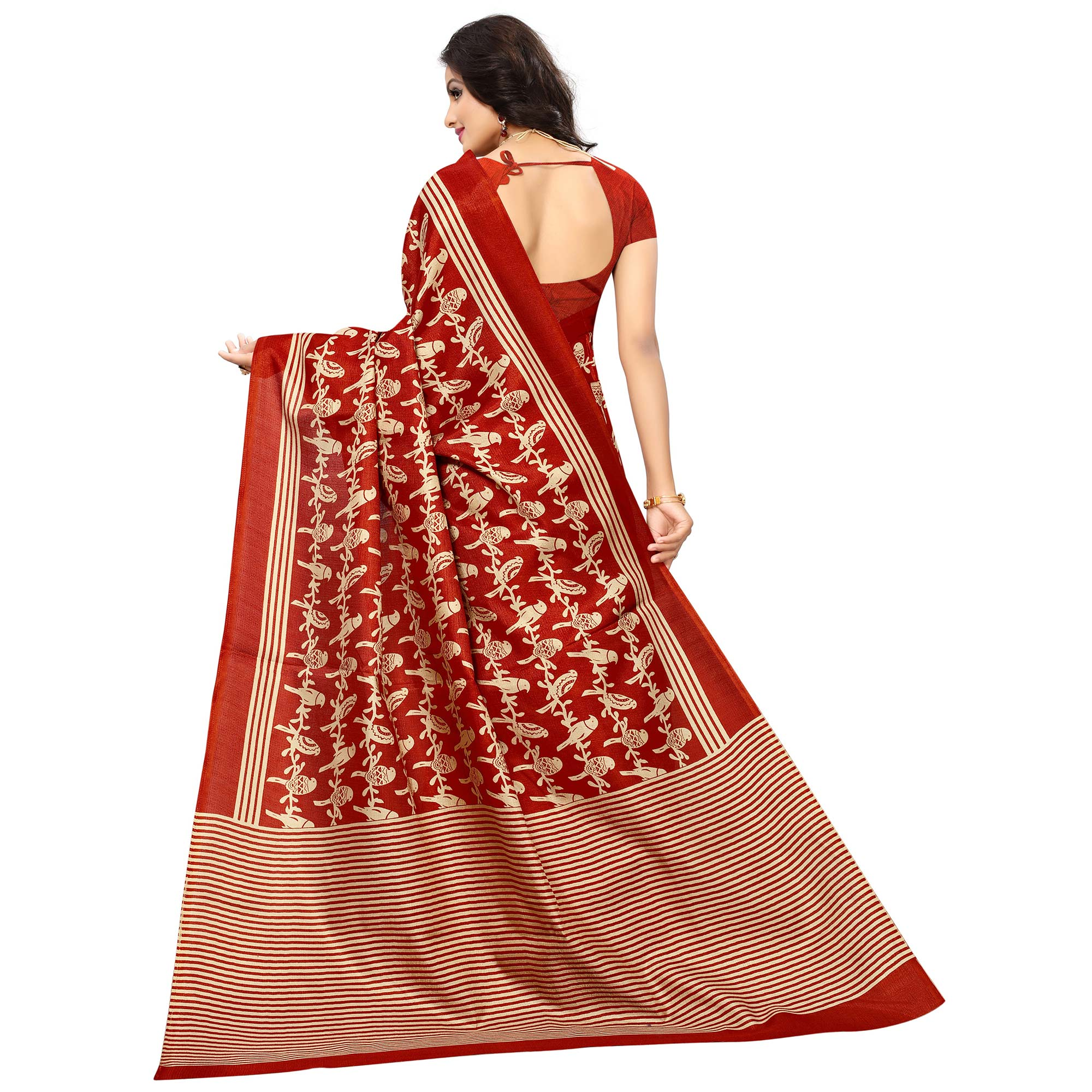Gleaming Red Colored Printed Festive Wear Khadi Silk Saree