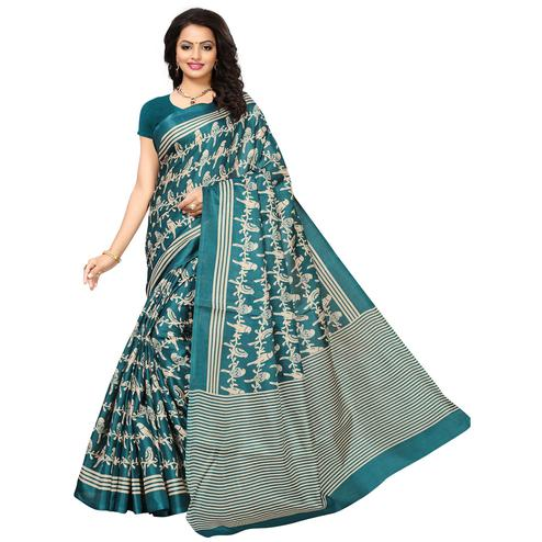 Beautiful Teal Blue Colored Printed Festive Wear Khadi Silk Saree