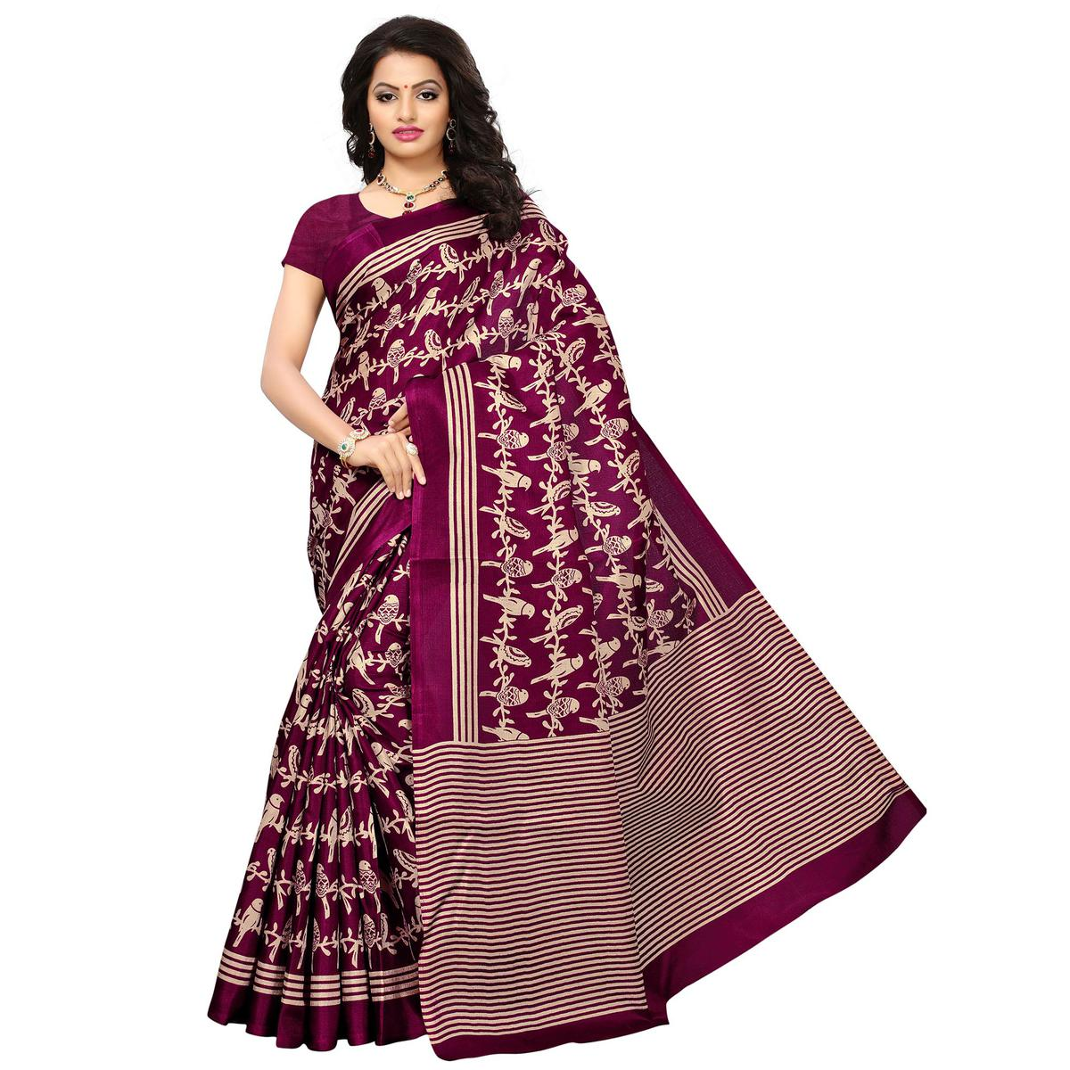 Attractive Magenta Colored Printed Festive Wear Khadi Silk Saree