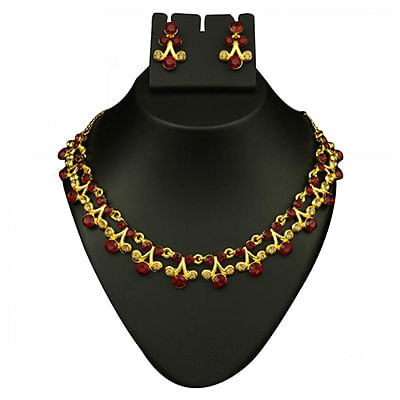 Red Austrian Stone Gold Finish Necklace Set