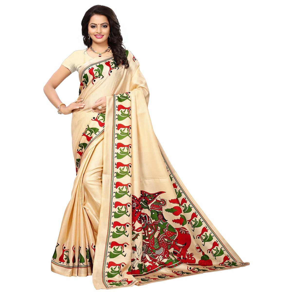 Appealing Cream Colored Printed Festive Wear Khadi Silk Saree