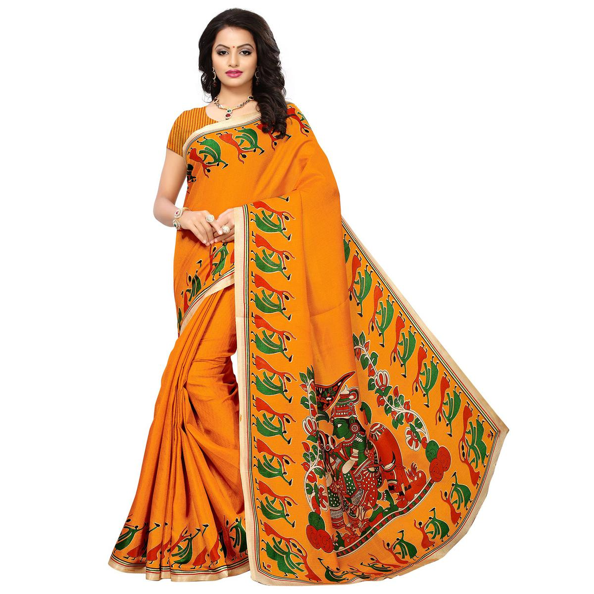Traditional Yellow Colored Printed Festive Wear Khadi Silk Saree