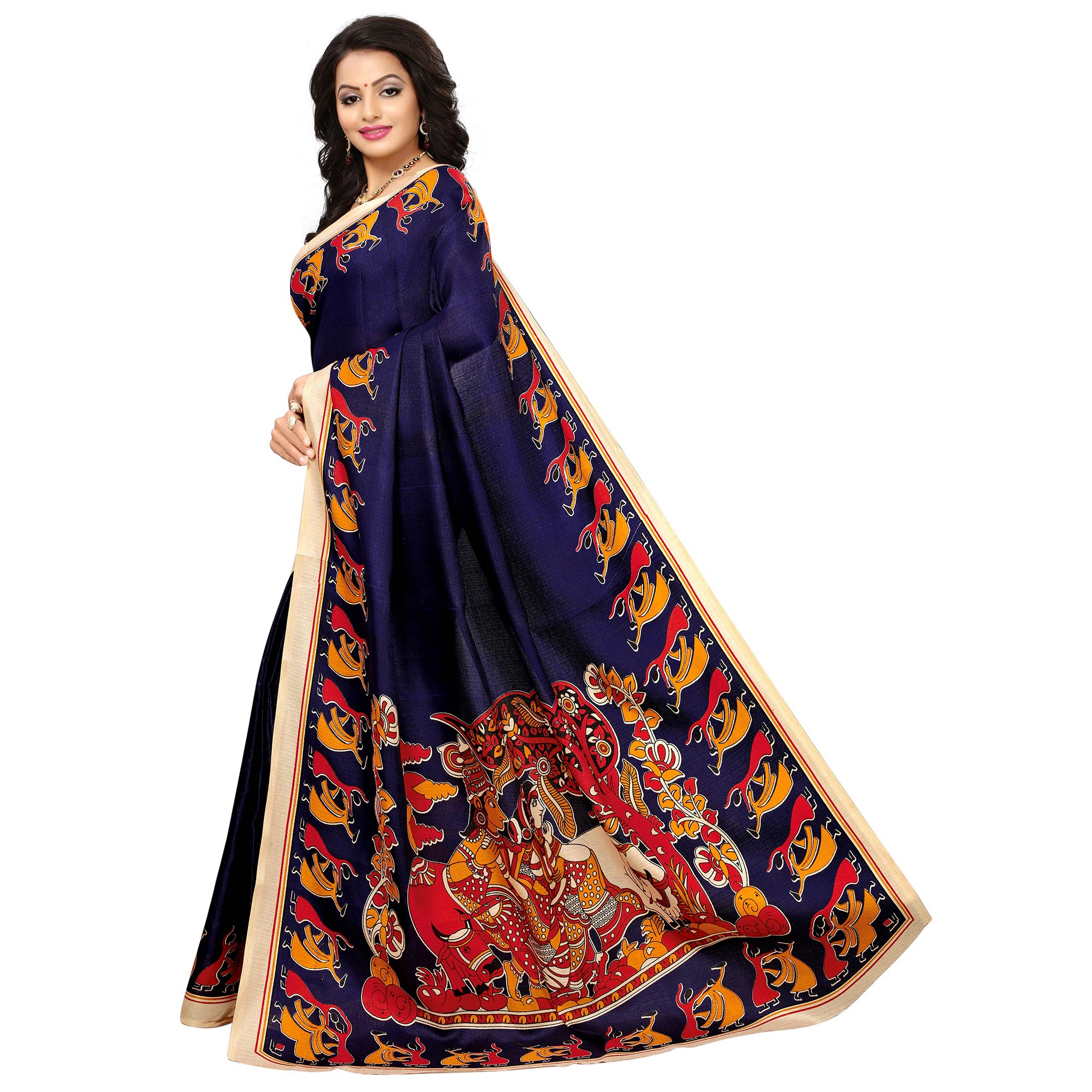 Amazing Navy Blue Colored Printed Festive Wear Khadi Silk Saree