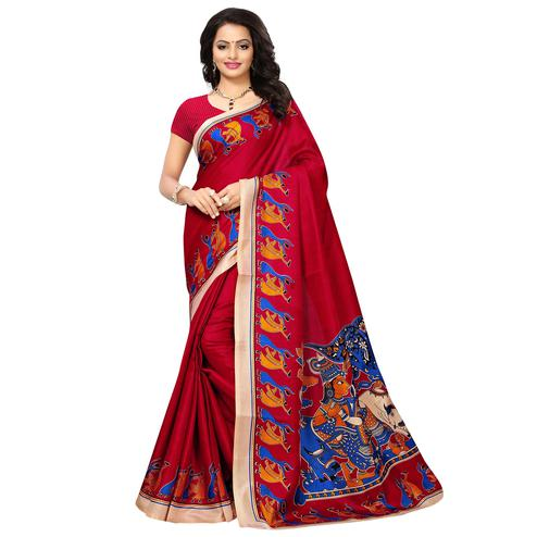 Charming Dark Pink Colored Printed Festive Wear Khadi Silk Saree