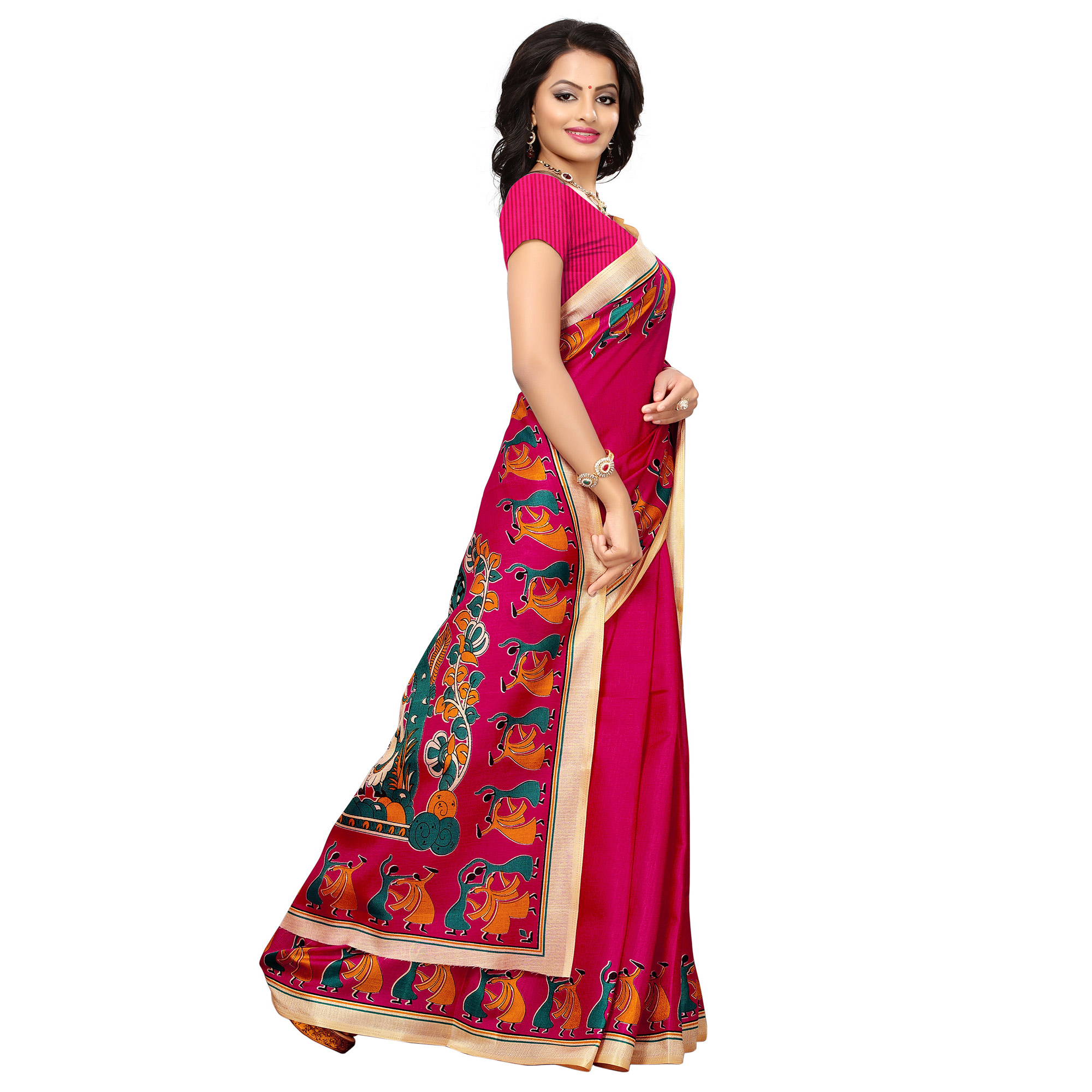 Innovative Rani Pink Colored Printed Festive Wear Khadi Silk Saree